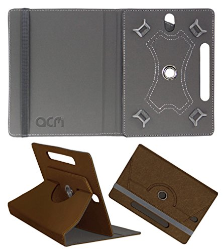 Acm Designer Rotating Leather Flip Case For Lenovo Tab 7 7504X Cover Stand, Brown