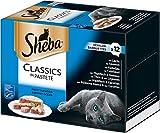 Sheba Adult Katzen-/Nassfutter Multipack, für Erwachsene Katzen Classics in Pastete, 72 Schalen (6 x 12 x 85 g)
