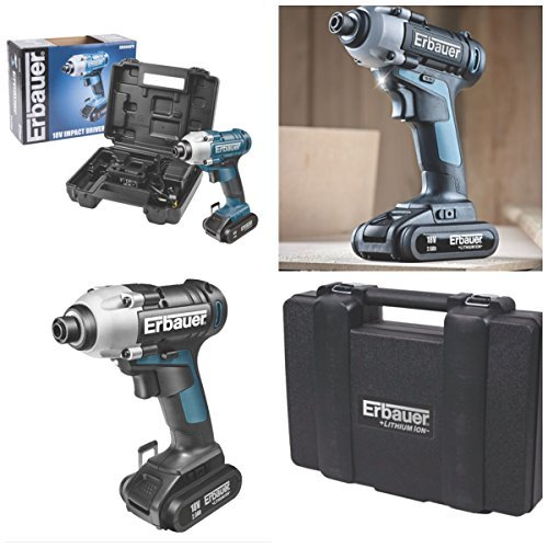 Erbauer 18V cordless lithium impact driver complete kit with 2 x 2.0ah Li-ion Batteries, Fast (Cordless Impact Driver Kit)