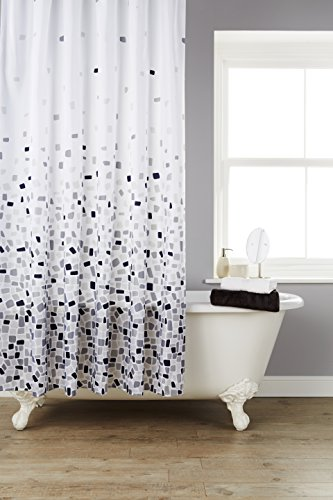 Vibrant Mosaic Grey On A White Background Polyester Shower Curtain Including 12 Grey Shower Curtain Rings By Waterline