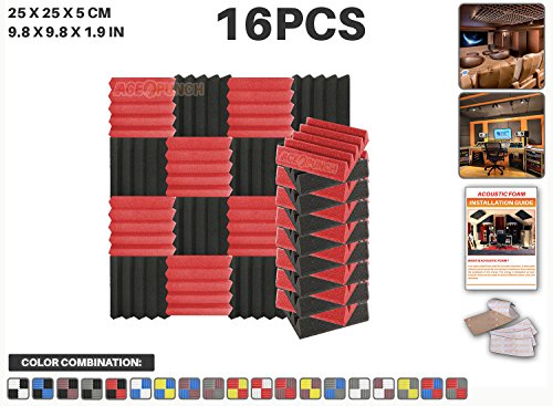 ace-punch-16-pcs-red-and-black-wedge-studio-foam-panel-sound-insulation-acoustic-treatment-soundproo