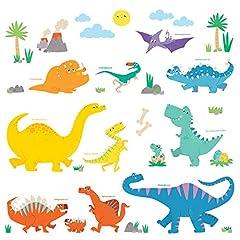 Idea Regalo - Decowall DW-1703 Dinosauro Colorato Adesivi da Parete Decorazioni Parete Stickers Murali Soggiorno Asilo Nido Camera da Letto per Bambini