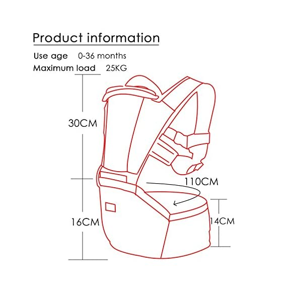 SONARIN 2018 Premium Hipseat Baby Carrier, Front,Horizontal, Multifunctional, Ergonomic,6 Carrying Positions,Safe and Comfortable,Adapted to Your Child's Growing,Ideal Gift(Red) SONARIN Applicable age and Weight?0-36 months of baby, the maximum load: 25KG, and adjustable the waist size can be up to 43.3 inches (about 110cm). Material:designers choose soft Oxford cloth, soft color, good ventilation, strong endurance, no irritation to the baby's skin,to the baby comfortable and enjoyable. Description: patented design of the auxiliary spine micro-C structure and leg opening design, natural M-type sitting. Widen the shoulder strap and belt will be effective to disperse the baby's weight to the shoulder and waist, so that mother more effort. EPP seat core, no deformation, baby sitting more comfortable. 4