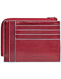 Piquadro Leather Credit Card Holder with Zip Pocket