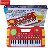 Meiyiu 31 Keys Kids Baby Musical Toys Children Musical Portable Instrument Electronic Piano Keyboard Educational Toys Red