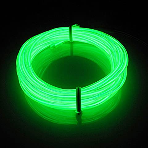 Lerway 5M Colorful Luminous EL Electroluminescent Wire LED Light Glowing Lighting Flexible Lamp + Controller Box,for Home Kitchen Garden Bedroom Decoration, Coffee Restaurant,Party Bar Club (Light Green)