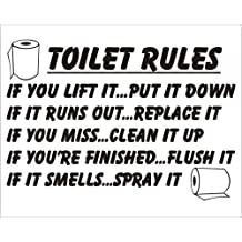Badezimmer Aufkleber / Sticker, Toiletten Regeln, In Englischer Sprache
