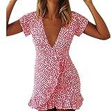 MRULIC Damen Sommer Kurzarm V-Ausschnitt Unregelmäßiges Druck Kleid Abend Party Kleid(Rot,EU-42/CN-XL)