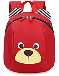 FRISTONE Mochila para Niños / PequeñA Bebes Guarderia Bolsa con Arneses de Seguridad,Rojo