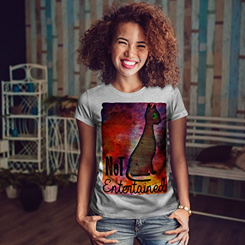 wellcoda Ne Pas Entertained Peindre Chat Femme S-2XL T-Shirt Gris