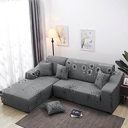 Tutto incluso copridivano elastico 1/2/3/4 posti copridivani con una fodera per cuscino e striscia di schiuma antiscivolo (l divano sagomato È necessario acquistare 2 pezzi),a,4seater
