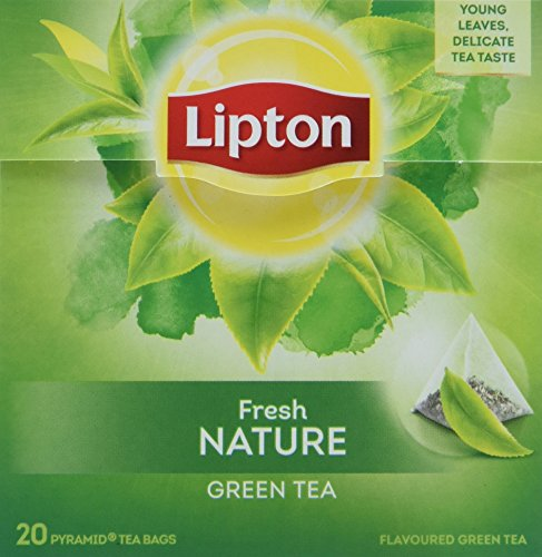 Lipton Grüner Tee Natur Pyramidenbeutel 20 Stück, 3er Pack