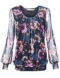 baishenggt, maglietta a manica lunga, girocollo, stretch, con pieghe Blu-Rosa M