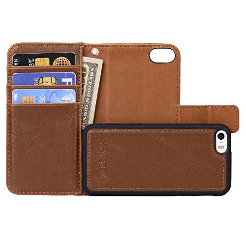 iPhone 5S Hülle,5 SE Schuzthülle,COCASES 2in1 Doppelschutz herausnehmbare Handytasche, Geldbörse Style mit Kartenfach (Braun) (5 Geldbörse)