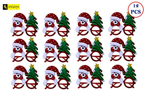 Zest 4 Toyz Christmas Snowman Santa Eye Glasses Christmas Prop Party Goggles Pack of 12 -Assorted Design