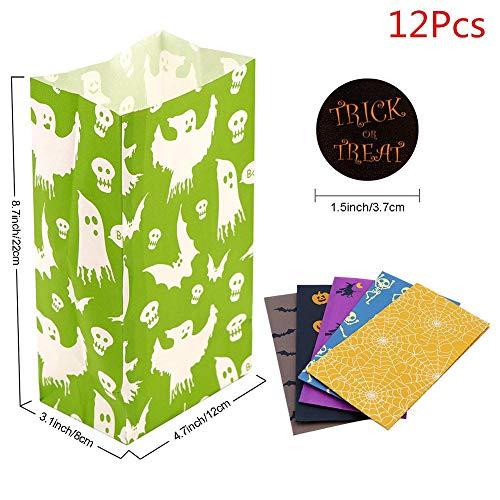ZMDA Geschenktüte 12 Stücke Papier Geschenk Tasche Einhorn Geburtstag Partydekorationen Emoji Candy Bag Junge Mädchen ParteiLiefertPopcorn Box12 Stücke Halloween Tasche