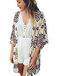 Manteau Femme, Koly Femmes GéOméTrie Mousseline ImpriméE Shawl Cardigan Kimono Tops Couvrez-Vous Blouse
