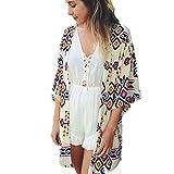 Manteau Femme, Koly Femmes GéOméTrie Mousseline ImpriméE Shawl Cardigan Kimono Tops Couvrez-Vous Blouse (XL)