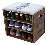SCHUHSCHRANK AUS HOLZ, SCHUHBANK, SCHUHREGAL, mit Gepolstertem Sitz und textilbeschichtet. Lagern und ordnen Sie Fußbekleidung: Schuhe, Stiefel, Sneakers, Sandalen - LIZA - (Walnussbraun)