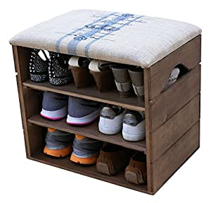 schuhschrank aus holz schuhbank schuhregal mit gepolstertem sitz und textilbeschichtet. Black Bedroom Furniture Sets. Home Design Ideas