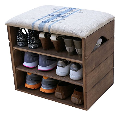 SHOE RACK - Premium Vintage Wooden Shoes Organiser, Storage, Cabinet, Holder Bench with Soft Seat Cushion for Entryway, Hallway- LIZA - 51 x 47 x 35 cm (Walnut Brown)