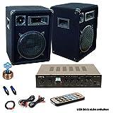 PA Party Musik Anlage Bluetooth USB MP3 Receiver Verstärker Fernbedienung Boxen DJ-566