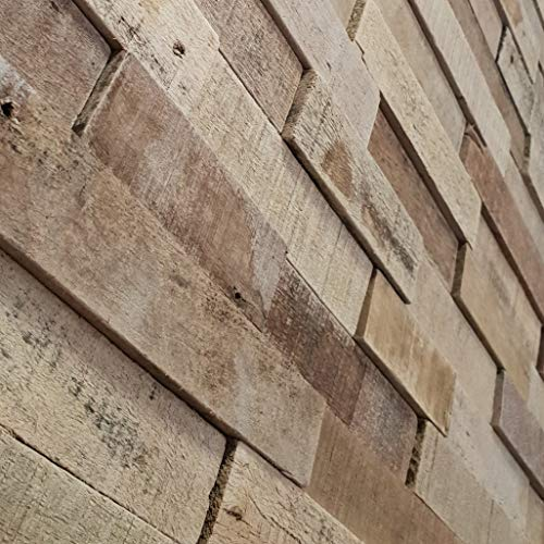3D Holz Wandverkleidung Natur 15x57 cm Verblender Riemchen Holz Holzpaneele Wand
