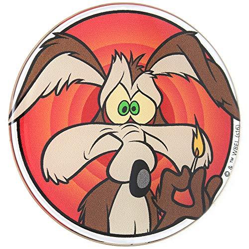 Fan Emblems Looney Tunes Wile E. Coyote Auto Aufkleber gewölbt/Multicolor / Chrome Finish, Automotive Emblem Abziehbild Gilt leicht für Autos, LKWs, Motorräder, Laptops, Handys, Windows, Fast Alles - Multi-color Patch
