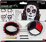 Smiffy's Smiffys-44226 Kit de Maquillaje para el día de los Muertos, con Pinturas para la Cara, Tatuaje,, Applicable 44226