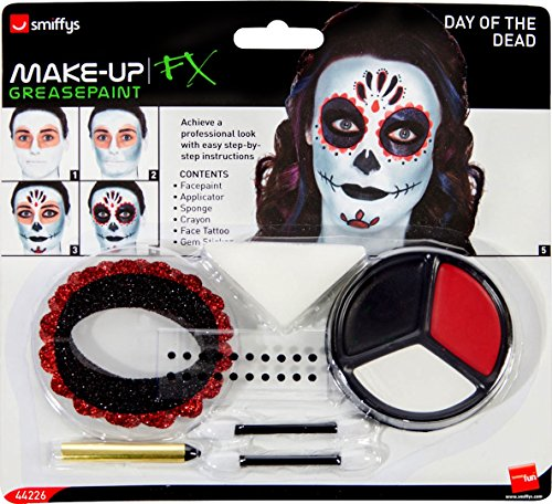 Smiffy's 44226 - Tag der Toten Make-Up Kit mit Gesichtsfarben Gesicht Tattoo Gem Aufkleber Crayon und Applikatoren (Tag Der Toten Halloween-kostüm-make-up)