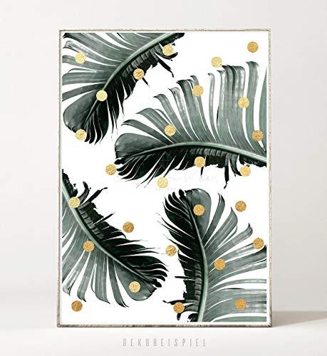 DIN A4 Kunstdruck Bild PALM DOTS -ungerahmt- Palme, tropisch, Blatt, Punkte, Pflanze, Natur, abstrakt Palm Dot