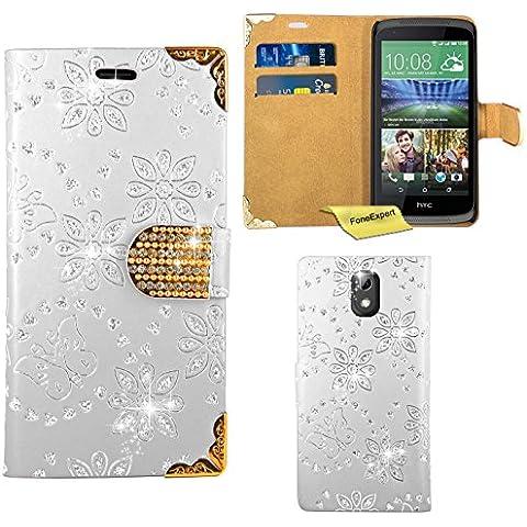 HTC Desire 526 526G Funda, FoneExpert® Diamante Bling Wallet Flip Billetera Carcasa Cover Case Funda de Cuero Para HTC Desire 526 526G