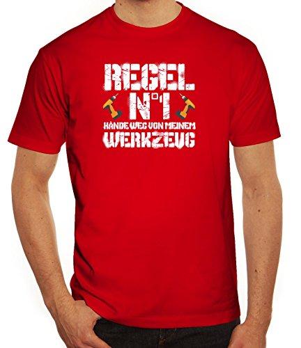 Handwerker Herren T-Shirt mit Hände weg von meinem Werkzeug Motiv von ShirtStreet Rot