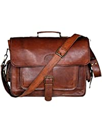 Handolederco. 16 Inch Leather Laptop Messenger Briefcase Bag For Men And Women