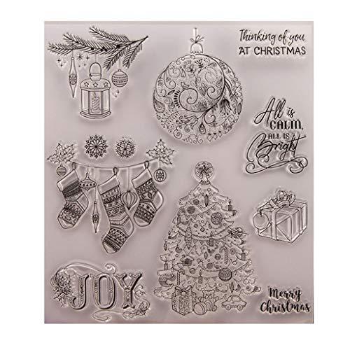 ECMQS Weihnachten Geschenk DIY Transparente Briefmarke, Silikon Stempel Set, Clear Stamps, Schneiden Schablonen, Bastelei Scrapbooking-Werkzeug