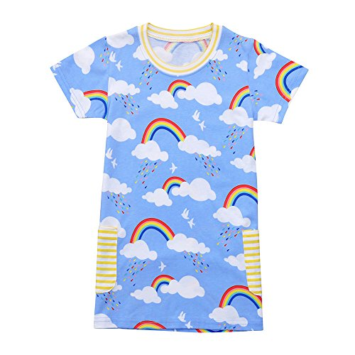Kleider Mädchen 146-152, Oyedens Kleinkind Baby Kind Mädchen Kleid Druckkleid Kurzarm Regenbogen Print Kleid Kleidung