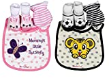WonderKart® Cute & Adorable Baby Bibs, Booties & Mittens Combo Set - (Pack of 2 Combo Set) Color/Print May Vary