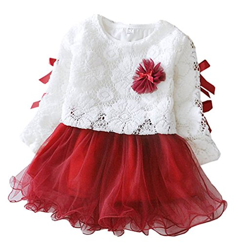 Waboats Baby Mädchen Gaze Blume Prinzessin Party 2pcs Sets tutu Kleid 12M Red Wine (Everyday Item Kostüm)