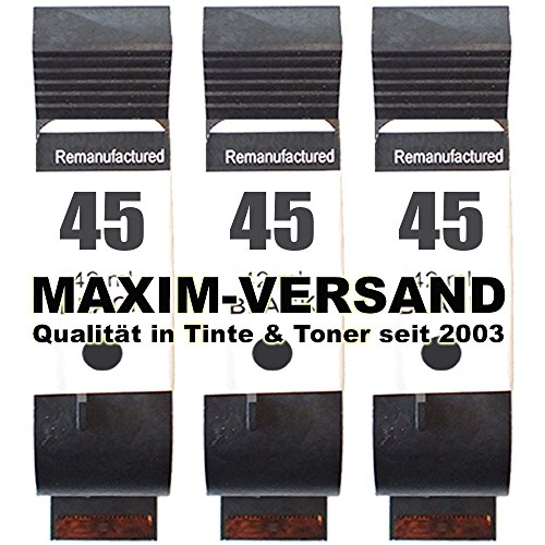3X MAXIMPRINT XL Drucker-Patrone ersetzt HP 45 - Schwarz/Black - 51645AE (Ed-drucker)