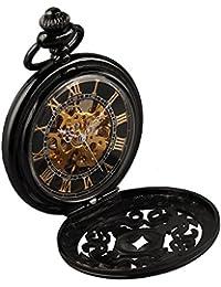 Alienwork Retro Reloj de Bolsillo Mecánico Relojes Hombre Mujer Acero inoxidable negro Analógicos Cuerda Manual Unisex esqueleto vintage