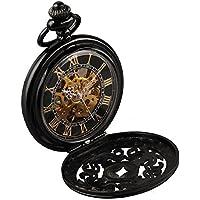 Alienwork Retro orologio da tasca meccanico Scheletro carica manuale inciso Metallo nero nero W891-02