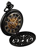 Alienwork Retro Handaufzug mechanische Taschenuhr Skelett Uhr graviert schwarz Metall W891-02