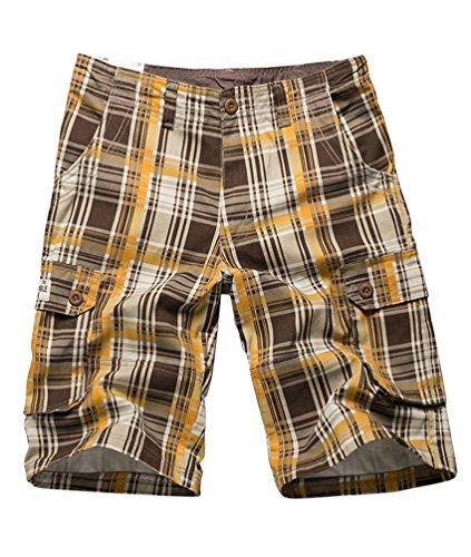 NiSeng pantaloni uomo a quadri - Casual Plaid Pantaloncini corti Bermuda Cargo short Giallo