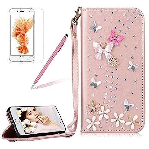 Girlyard für iPhone 8 Plus 7 Plus (5.5 Zoll) Diamant Lederhülle, Bling Glitzer DIY Crystal Schutzhülle Luxus Premium PU Flip Case mit Lanyard Strap Standfunktion Kartenfach Magnetverschluss Etui für iPhone 7 Plus/ iPhone 8 Plus Rosa Schmetterling (Netzkabel Lanyard)