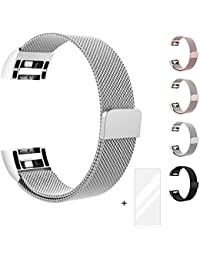 Fun Sponsor Fitbit Charge 2 Correa, Milanese Loop Correa de Acero Inoxidable Reemplazo Wristband Pulseras con Cerradura Imán para Fitbit Charge 2 Fitness Plata + Bonus Protector de Pantalla
