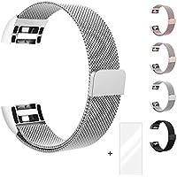 Fun Sponsor Fitbit Charge 2 Armband, Milanese Fitbit Charge 2 Ersatzarmband Edelstahl Fitbit Armbänder Charge 2 mit Magnet-Verschluss Armband für Fitbit Charge + Bonus Displayschutzfolie