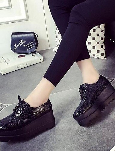 ZQ hug Scarpe Donna-Sneakers alla moda-Formale / Casual-Comoda / Punta squadrata-Zeppa-Finta pelle-Nero , black-us8 / eu39 / uk6 / cn39 , black-us8 / eu39 / uk6 / cn39 black-us6 / eu36 / uk4 / cn36