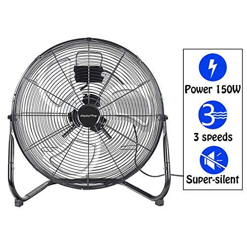 """Display4top 20"""" Ventilateur industriel Noir 3 vitesses 50CM Ventilateur de Sol idéal pour les gymnases, les maisons, les bureaux ou les entrepôts et industriels,150W"""