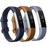 Moretek Sport Armband für Fitbit Alta und Fitbit Alta HR, Silikon Sportbänder Einstellbar Ersatz Armband Wristband für Fitbit Alta HR and Alta Band mit Metallschließe (Coffee/DarkBlue/Grey 3Pcs, Small)