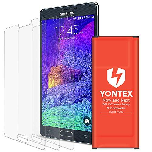 YONTEX Akku Note 4, NFC/Google Wallet, 3220mAh Ersatzakku für Samsung Galaxy Note 4 mit 3 Pack Bildschirmschutzfolie [NOTE 4 IV, N910, N910U 4G LTE, AT&T N910A, Verizon N910V, Sprint N910P]